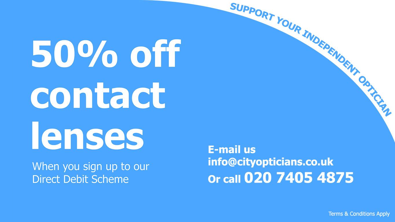 City Opticians London - 50% Off Contact Lenses